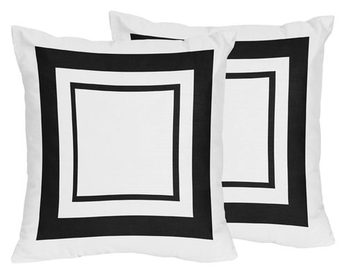 White and Black Modern Hotel Decorative Accent Throw Pillows Set of 2