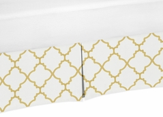 White and Gold Crib Bed Skirt for Trellis Collection Baby Bedding Sets