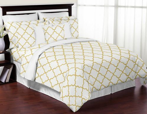 White And Gold Trellis 3pc Full Queen Girls Teen Bedding Set