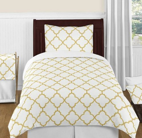 White and Gold Trellis 4pc Twin Girls Kids Bedding Set - Click to enlarge
