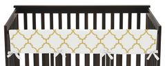 White and Gold Trellis Baby Crib Long Rail Guard Cover by Sweet Jojo Designs