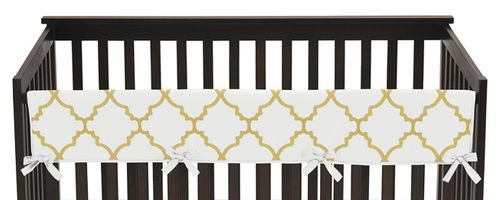 White and Gold Trellis Baby Crib Long Rail Guard Cover by Sweet Jojo Designs - Click to enlarge