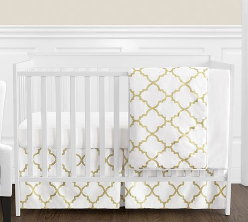 White and Gold Trellis Baby Girl Bedding - 4pc Crib Set - Click to enlarge