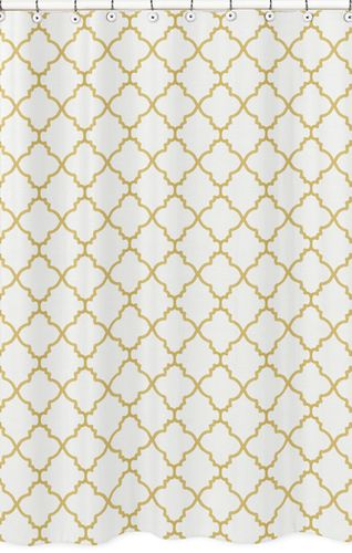 White and Gold Trellis Childrens Bathroom Fabric Bath Shower Curtain - Click to enlarge