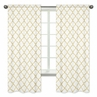 White and Gold Trellis Collection Window Treatment Panels by Sweet Jojo Designs - Set of 2