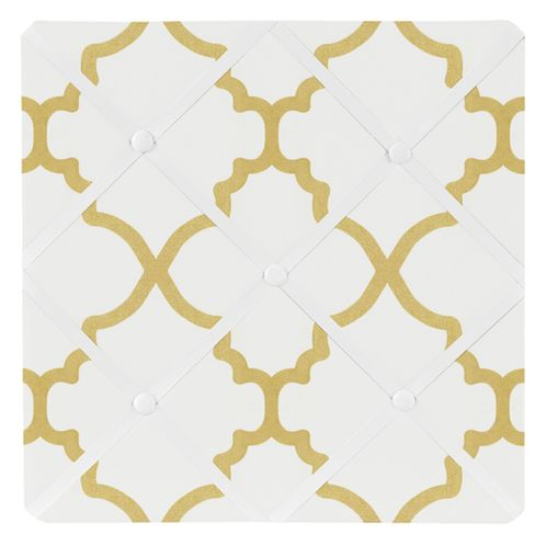 White and Gold Trellis Fabric Memory/Memo Photo Bulletin Board by Sweet Jojo Designs - Click to enlarge