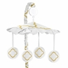 White and Gold Trellis Musical Baby Crib Mobile by Sweet Jojo Designs
