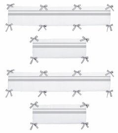 White and Gray Hotel Collection Crib Bumper by Sweet Jojo Designs