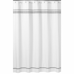 White and Gray Hotel Kids Bathroom Fabric Bath Shower Curtain by Sweet Jojo Designs
