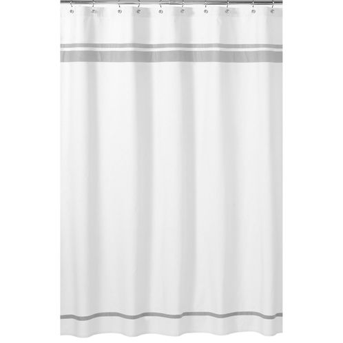 White and Gray Hotel Kids Bathroom Fabric Bath Shower Curtain by Sweet Jojo Designs - Click to enlarge