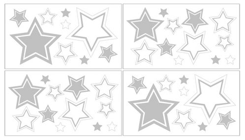 White and Gray Hotel Peel and Stick Wall Decal Stickers Art Nursery Decor by Sweet Jojo Designs - Set of 4 Sheets - Click to enlarge