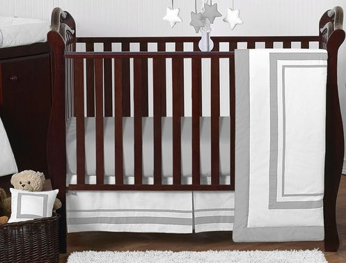 White and Gray Modern Hotel Baby Bedding - 11pc Crib Set by Sweet Jojo Designs - Click to enlarge