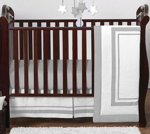 White and Gray Modern Hotel Baby Bedding - 4pc Crib Set by Sweet Jojo Designs - Click to enlarge