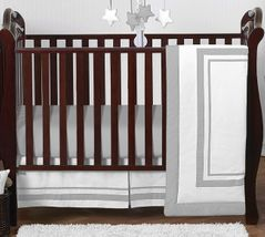 White and Gray Modern Hotel Baby Bedding - 4pc Crib Set by Sweet Jojo Designs