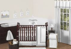 White and Gray Modern Hotel Baby Bedding - 9pc Crib Set by Sweet Jojo Designs