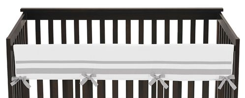 White and Gray Modern Hotel Baby Crib Long Rail Guard Cover by Sweet Jojo Designs - Click to enlarge