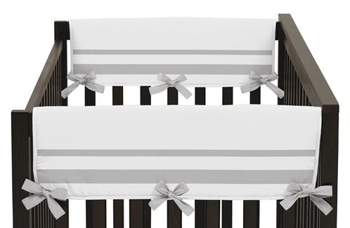 White and Gray Modern Hotel Baby Crib Side Rail Guard Covers by Sweet Jojo Designs - Set of 2 - Click to enlarge