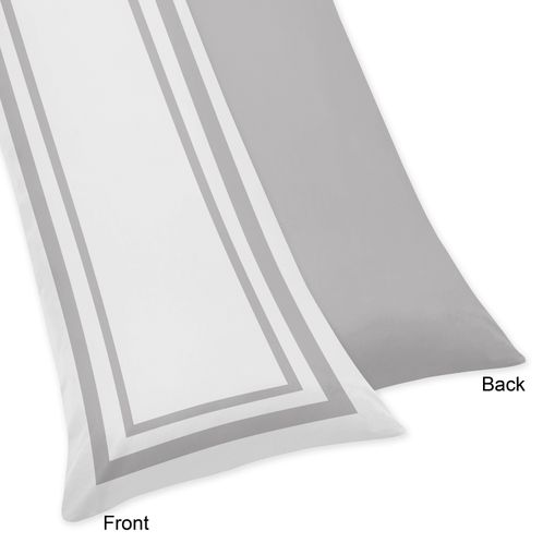 White and Gray Modern Hotel Full Length Double Zippered Body Pillow Case Cover - Click to enlarge