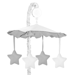 White and Gray Modern Hotel Musical Baby Crib Mobile by Sweet Jojo Designs