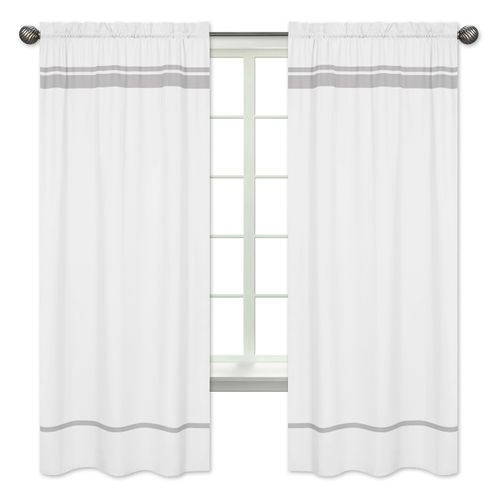 White and Gray Modern Hotel Window Treatment Panels by Sweet Jojo Designs - Set of 2 - Click to enlarge