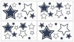 White and Navy Hotel Peel and Stick Wall Decal Stickers Art Nursery Decor by Sweet Jojo Designs - Set of 4 Sheets