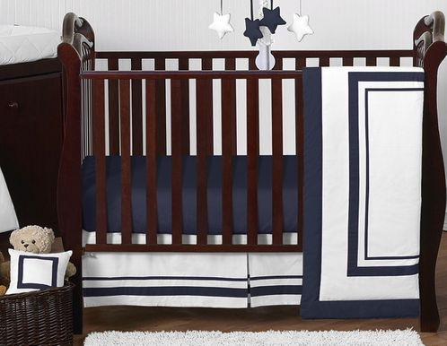 White and Navy Modern Hotel Baby Bedding - 11pc Crib Set by Sweet Jojo Designs - Click to enlarge
