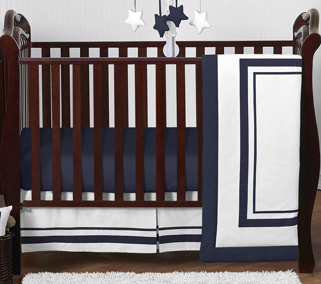 White And Navy Modern Hotel Baby, White And Navy Cot Bedding