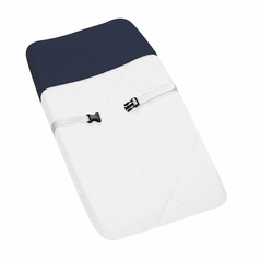 White and Navy Modern Hotel Baby Changing Pad Cover by Sweet Jojo Designs