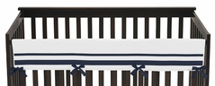 White and Navy Modern Hotel Baby Crib Long Rail Guard Cover by Sweet Jojo Designs