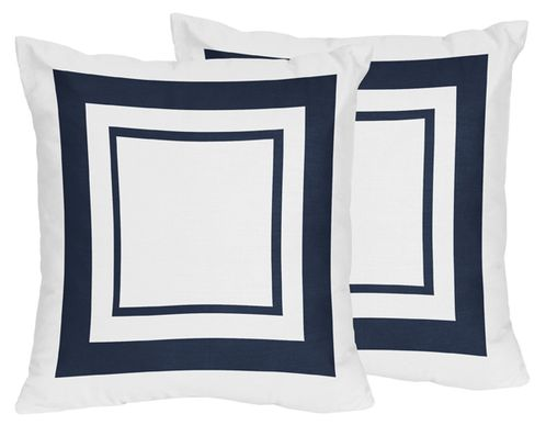 White and Navy Modern Hotel Decorative Accent Throw Pillows Set of 2