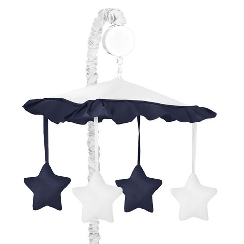 White and Navy Modern Hotel Musical Baby Crib Mobile by Sweet Jojo Designs - Click to enlarge