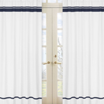 White and Navy Modern Hotel Window Treatment Panels by Sweet Jojo Designs - Set of 2