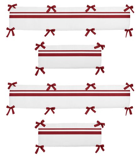 White and Red Hotel Collection Crib Bumper by Sweet Jojo Designs - Click to enlarge