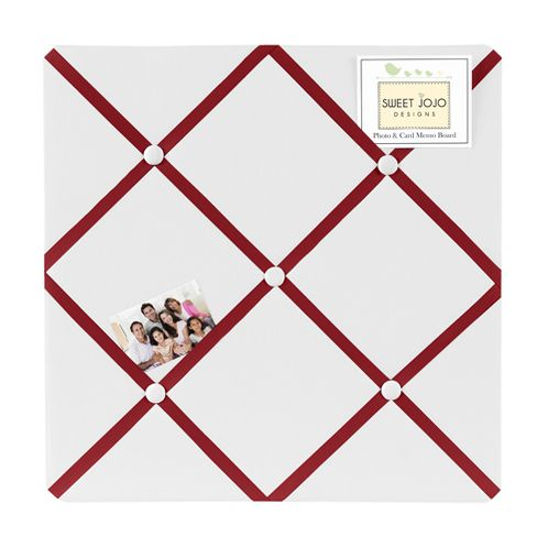 White and Red Hotel Fabric Memory/Memo Photo Bulletin Board by Sweet Jojo Designs - Click to enlarge
