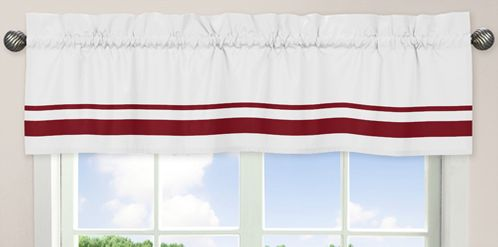 White and Red Hotel�Modern Window Valance by Sweet Jojo Designs - Click to enlarge
