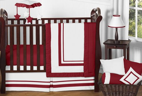 White and Red Modern Hotel Baby Bedding - 11pc Crib Set by Sweet Jojo Designs - Click to enlarge