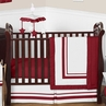 White and Red Modern Hotel Baby Bedding - 11pc Crib Set by Sweet Jojo Designs