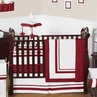 White and Red Modern Hotel Baby Bedding - 9pc Crib Set by Sweet Jojo Designs
