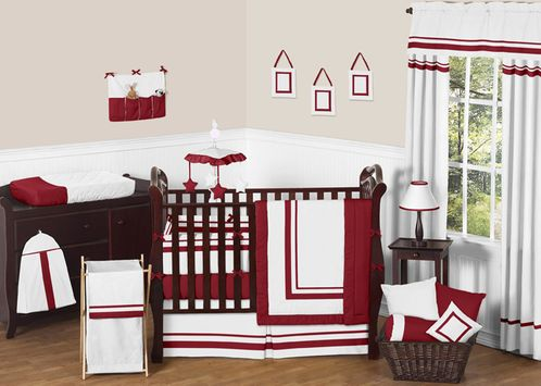White and Red Modern Hotel Baby Bedding - 9pc Crib Set by Sweet Jojo Designs - Click to enlarge