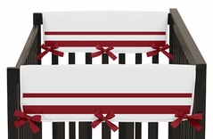 White and Red Modern Hotel Baby Crib Side Rail Guard Covers by Sweet Jojo Designs - Set of 2
