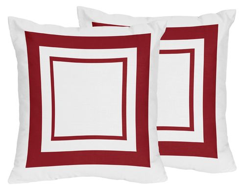 White and Red Modern Hotel Decorative Accent Throw Pillows - Set of 2 - Click to enlarge