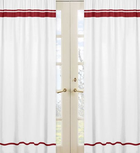 White and Red Modern Hotel Window Treatment Panels by Sweet Jojo Designs - Set of 2 - Click to enlarge