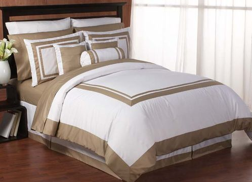 White and Taupe Hotel Duvet Comforter Cover 6-pc Bedding Set - Click to enlarge