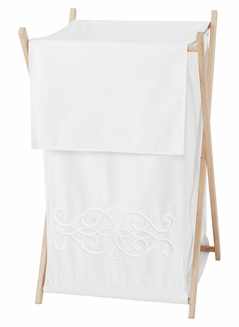White Boho Bohemian Baby Kid Clothes Laundry Hamper by Sweet Jojo Designs - Solid Color Shabby Chic Princess Luxurious Luxury Elegant Vintage Designer Boutique Victorian Cotton Embroidered Medallion