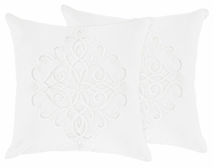White Boho Bohemian Decorative Accent Throw Pillows by Sweet Jojo Designs - Set of 2 - Solid Color Shabby Chic Princess Luxurious Luxury Elegant Vintage Designer Boutique Victorian Cotton Embroidered Medallion