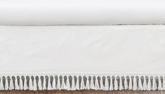 White Boho Bohemian Girl Baby Nursery Crib Bed Skirt Dust Ruffle by Sweet Jojo Designs - Solid Color Shabby Chic Princess Luxurious Luxury Elegant Vintage Designer Boutique Victorian Cotton Fringe Tassle
