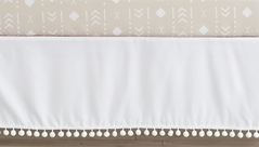 White Boy or Girl Baby Nursery Crib Bed Skirt Dust Ruffle by Sweet Jojo Designs - Gender Neutral Solid Color Bohemian Southwest Tribal Pom Pom for Llama Collection