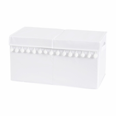 White Boy or Girl Small Fabric Toy Bin Storage Box Chest For Baby Nursery or Kids Room by Sweet Jojo Designs - Gender Neutral Solid Color Bohemian Southwest Tribal Pom Pom for Llama Collection