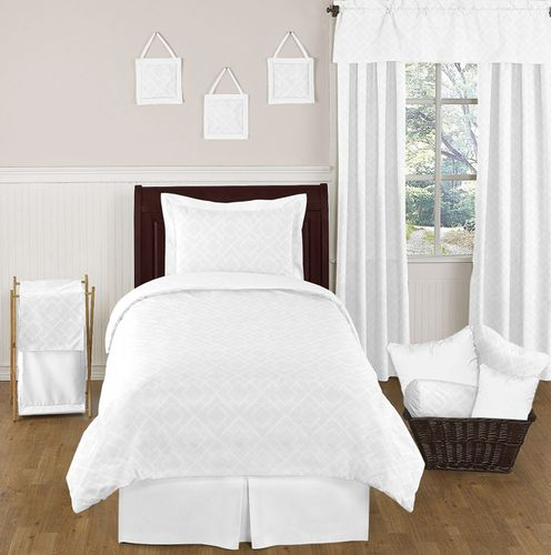 White Diamond Jacquard Modern Childrens and Kids Bedding - 4pc Twin Set by Sweet Jojo Designs - Click to enlarge