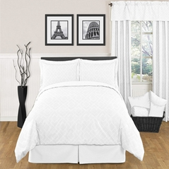 White Diamond Jacquard Modern Contemporary 3pc Bedding Set